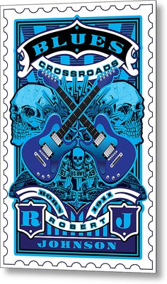 David Cook Umgx Vintage Studios Blues Crossroads Illustrated Stamp Art Poster Metal Print by David Cook  Los Angeles Prints