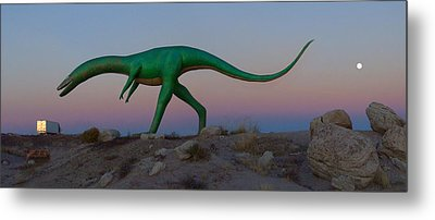 Dinosaur Loose On Route 66 Metal Print by Mike McGlothlen