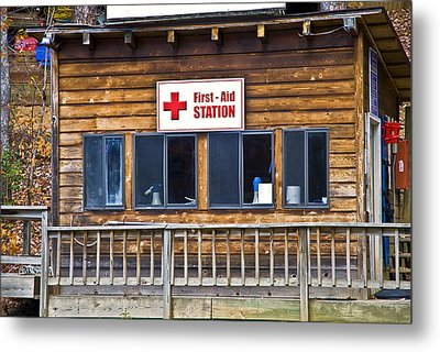 First Aid Station Metal Print by Susan Leggett