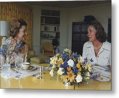 First Lady Betty Ford And Happy Metal Print by Everett