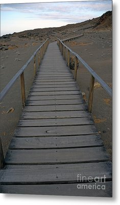 Footbridge On Volcanic Landscape Metal Print by Sami Sarkis