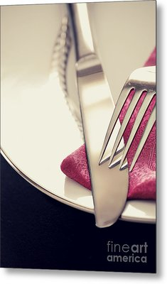 Fork And Knife Metal Print by HD Connelly