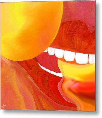 Fresh Peaches Taste Like Sunshine Metal Print by Mathilde Vhargon