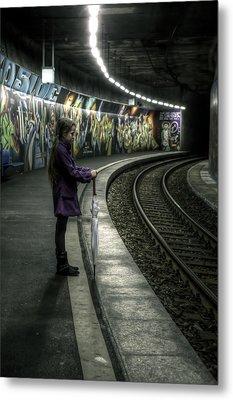 Girl In Station Metal Print by Joana Kruse
