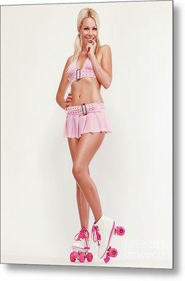 Glamorous Girl On Roller Skates Metal Print by Oleksiy Maksymenko