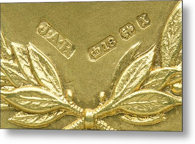Gold Hallmarks, 1897 Metal Print by Sheila Terry