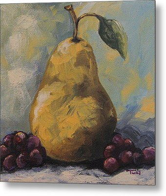 Golden Pear With Grapes Metal Print by Torrie Smiley