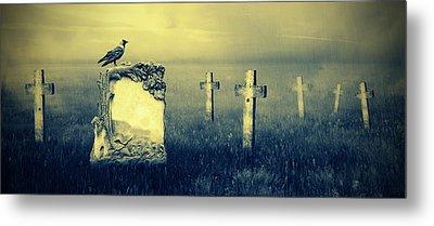 Gravestones In Moonlight Metal Print by Jaroslaw Grudzinski