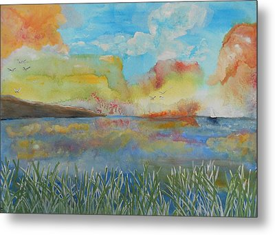 He Leads Me Beside The Still Waters Metal Print by Barbara McNeil