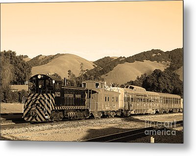 Historic Niles Trains In California.southern Pacific Locomotive And Sante Fe Caboose.7d10819.sepia Metal Print by Wingsdomain Art and Photography