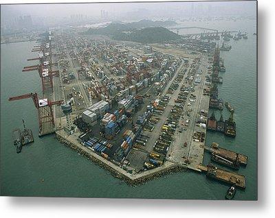 Hong Kong Cargo Terminal, One Metal Print by Justin Guariglia
