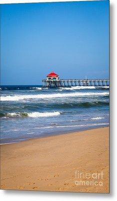 Huntington Beach Pier In Orange County California Metal Print by Paul Velgos