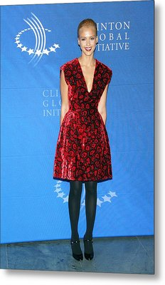 Jessica Alba Wearing A Prada Dress Metal Print by Everett