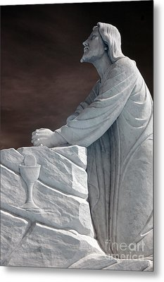 Jesus Kneeling - Religious Christian Art Metal Print by Kathy Fornal