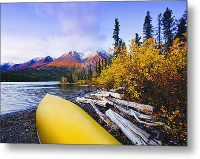 Kathleen Lake And Mountains, Kluane Metal Print by Yves Marcoux