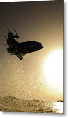 Kitesurfing At Sunset Metal Print by Hagai Nativ
