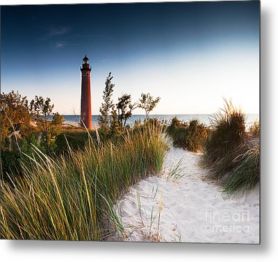 Little Sable Point Light Station Metal Print by Larry Carr
