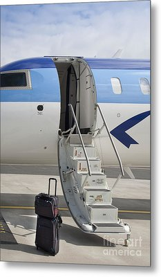 Luggage Near Airplane Steps Metal Print by Jaak Nilson