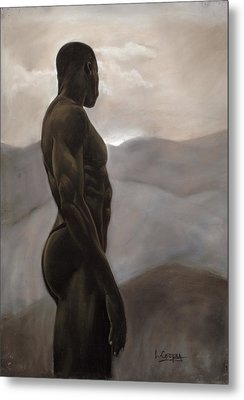 Man Looking At Sunset Metal Print by L Cooper