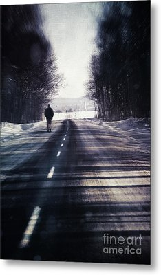 Man Walking On A Rural Winter Road Metal Print by Sandra Cunningham