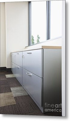 Metal Drawers And Shelf Metal Print by Jetta Productions, Inc