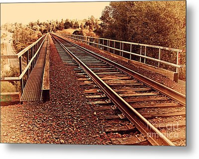 Muir Railroad Trestle In Martinez California . 7d10218 Metal Print by Wingsdomain Art and Photography