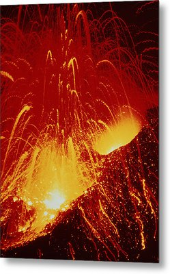 Night View Of Eruption Of Alaid Volcano, Cis Metal Print by Ria Novosti