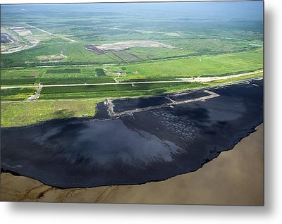 Oil Plant Settling Pond Metal Print by David Nunuk