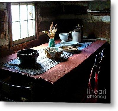 Old Cabin Table Metal Print by Julie Dant