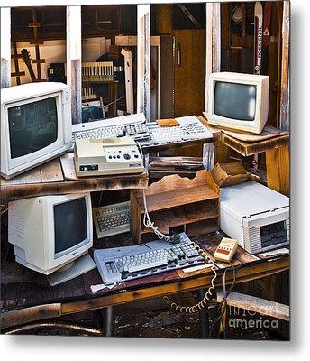 Old Computers In Storage Metal Print by Eddy Joaquim