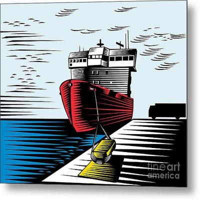 Passenger Ship Ferry Boat Anchor Retro Metal Print by Aloysius Patrimonio