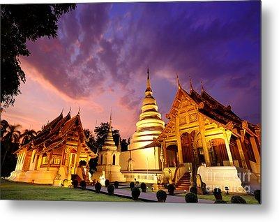 Phra Singh Temple Twilight Time Metal Print by Panupong Roopyai