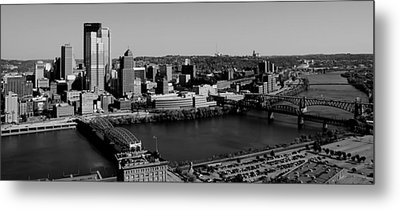 Pittsburgh In Black And White Metal Print by Michelle Joseph-Long