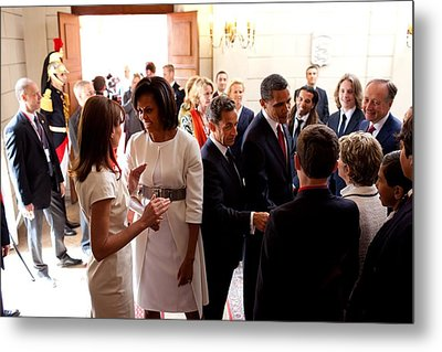 President Obama And French President Metal Print by Everett