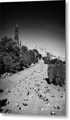 Princes Street Gardens On A Hot Summers Day In Edinburgh Scotland Uk United Kingdom Metal Print by Joe Fox