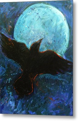 Raven And Blue Moon Metal Print by Carol Suzanne Niebuhr