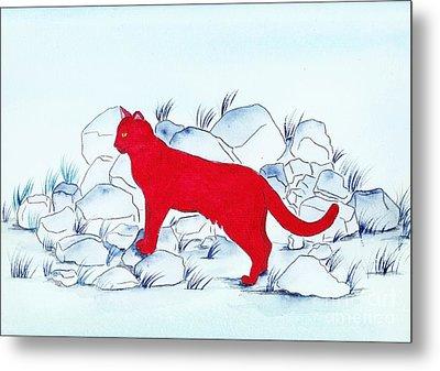 Red Cat Metal Print by Michaela Bautz