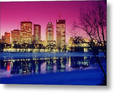 Red River And Downtown Winnipeg Metal Print by Dave Reede