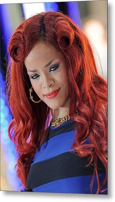 Rihanna At Talk Show Appearance For Nbc Metal Print by Everett
