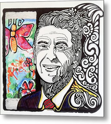 Ronald Reagan - Berlin Wall Metal Print by Ben Gormley