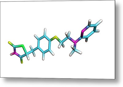 Rosiglitazone Diabetes Drug Molecule Metal Print by Dr Tim Evans