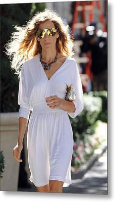Sarah Jessica Parker Wearing A Halston Metal Print by Everett
