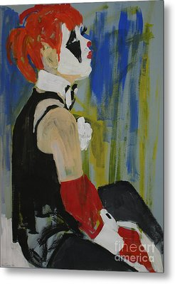 Seated Lady Clown Metal Print by Joanne Claxton