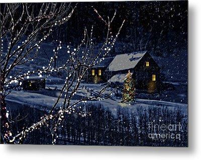 Snowy Winter Scene Of A Cabin In Distance  Metal Print by Sandra Cunningham