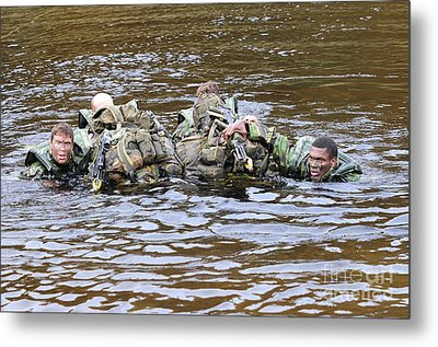 Soldiers Participate In A River Metal Print by Andrew Chittock