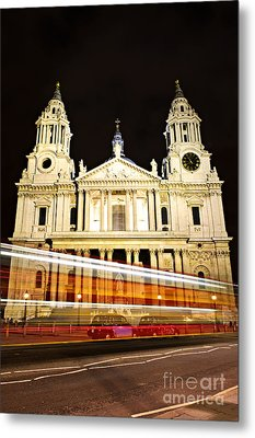 St. Paul's Cathedral In London At Night Metal Print by Elena Elisseeva