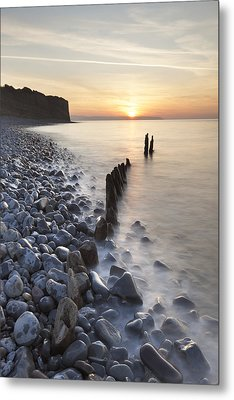 Sunset At The Remains Of Lilstock Pier Metal Print by Nick Cable