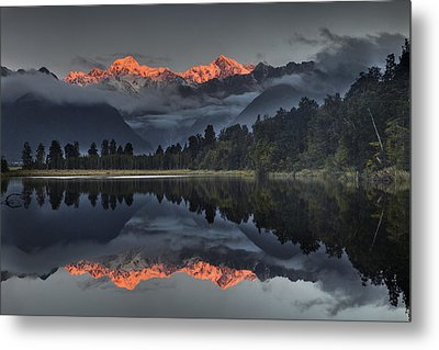 Sunset Reflection Of Lake Matheson Metal Print by Colin Monteath