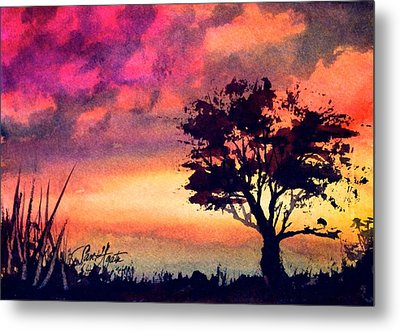 Sunset Solitaire Metal Print by Frank SantAgata