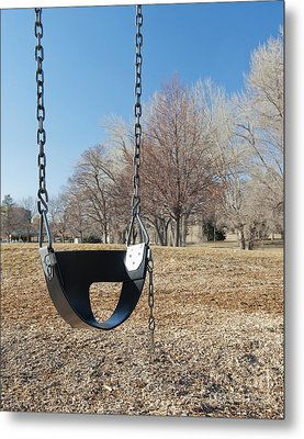 Swing Set On A Grass Field Metal Print by Thom Gourley/Flatbread Images, LLC
